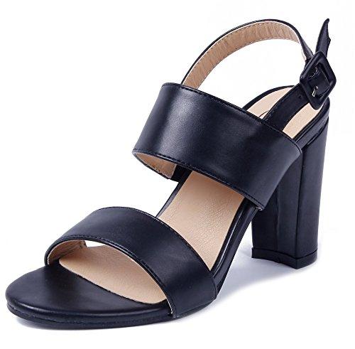 AgeeMi Shoes Mujeres Sandalias Slingback Tacón Grueso Hebilla Tobillo Sandalias Negro