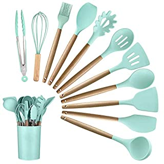 Alitade 12PCS Kitchen Utensil Set Silicone Cooking Utensils Kit Spatula Heat Resistant Wooden Spoons Gadgets Tool for Non-Stick Cookware