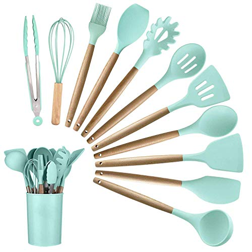 12PCS Kitchen Silicone Spatula Utensil Set Silicone Cooking Utensils Set Spatulas Silicone Heat Resistant Wooden Spoons Utensils Non-Stick for Cooking Kitchen Gadgets Tools (Best New Cooking Tools)