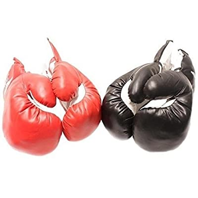 2 PAIRS Sparring Faux Leather Red Black BOXING PRACTICE TRAINING Red and Black