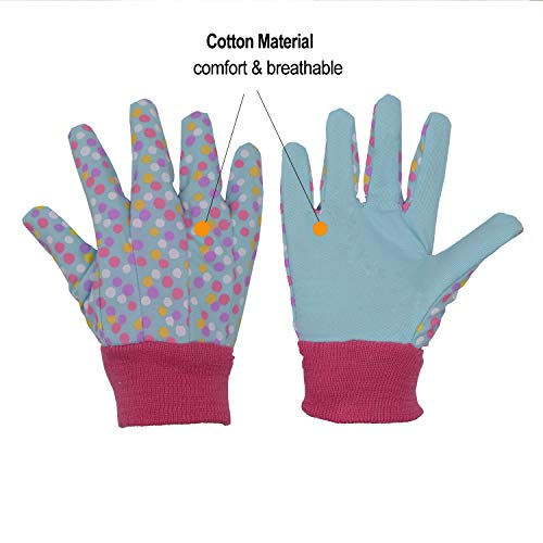 age7-8 Green age 7-8 Kids Gardening gloves for age 5-6 2 Pairs Cotton Garden Gloves for girls boys Medium Dot /& Butterfly /& Ladybird Print ladybird+ dot