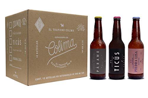 12 Pack con 4 cervezas Páramo Pale Ale, 4 cervezas Ticús Porter y 4 cervezas Piedra Lisa Session IPA