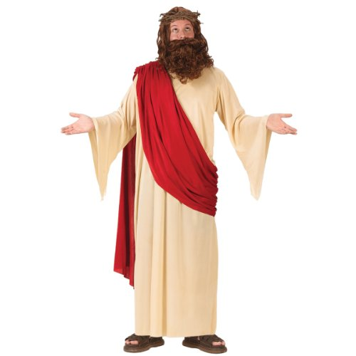 FunWorld Men's Jesus Adult Costume with Crown and Beard, Cream/Red, One Size Fits Up To 6ft. 200 lbs.
