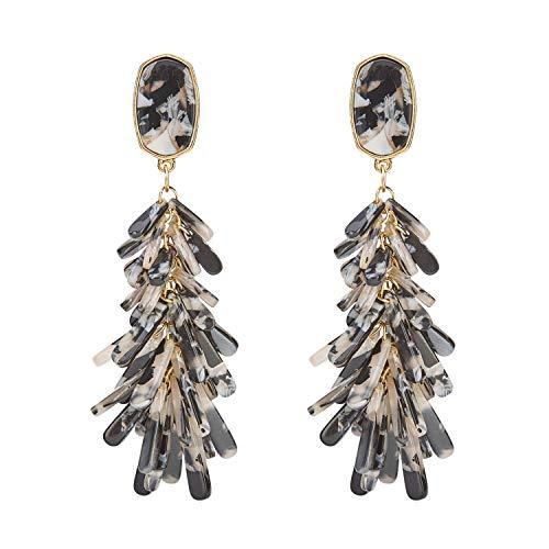 MERTH Acrylic Resin Tortoise Hoop Earrings Leopard Earrings Statement Mottled Earrings Drop and Dange Earrings Fashion Jewelry for Women (Tassel Black - T-shirt Them Mens Drop