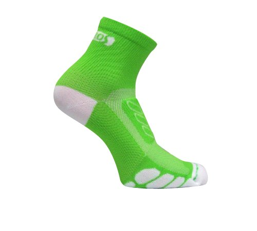 Eurosocks EU202 Silver DryStat Cycle  Lightweight Quarter Socks,  Lime/White, Medium