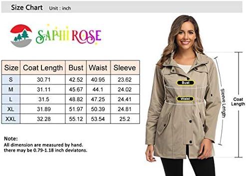 Women's Long Hooded Rain Jacket Outdoor Raincoat Windbreaker