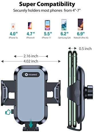 VICSEED Car Phone Holder Mount, [Upgrade Doesn't Slip & Droop] Air Vent Universal Cell Phone Holder for Car Hands Free Easy Clamp Cradle in Vehicle Compatible with All Apple iPhone Android Smartphone