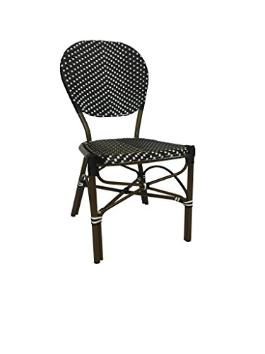 - Table in a Bag CBCBBW All-Weather Wicker French Café Bistro Chair with Aluminum Frame, Black/White