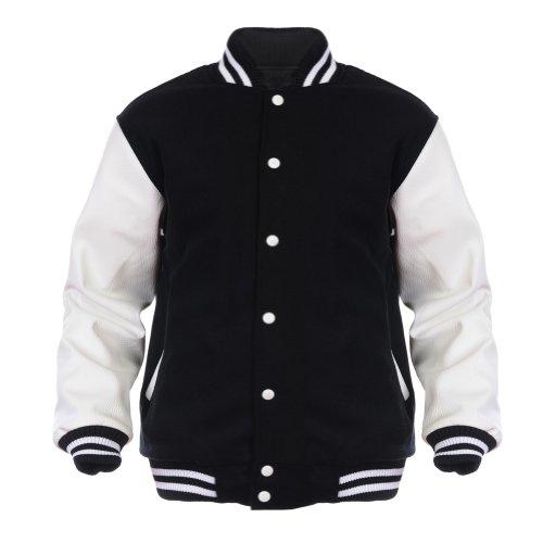[Angel Cola Black & White Varsity Wool & Synthetic Leather Letterman Jacket (XXLarge)] (Leather Letterman Jacket)
