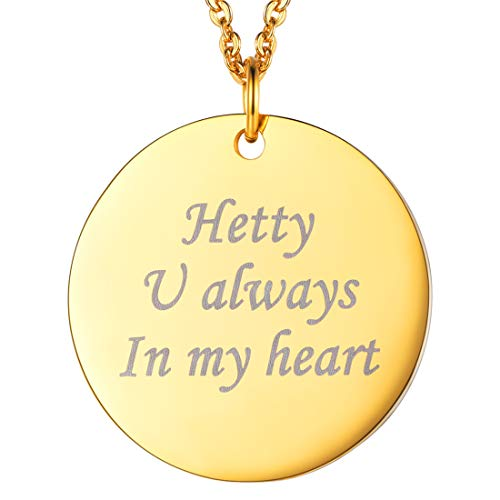 U7 Personalized Dog Tags Necklace with Chain Stainless Steel Text/Image Print Photo Custom Engraving Pendant, Gift for Men Women (Round Shape Gold (Text Engrave))