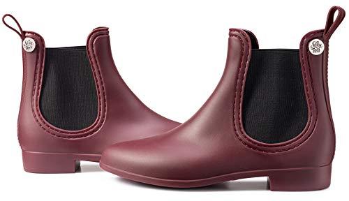 (Silky Toes Women's Fashion Elastic Slip On Short Rain Boots (39 EU, Burgundy - Matte))