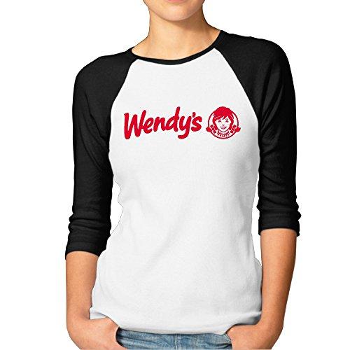 CUPP Women's Wendys RED Logo Women Raglan Sleeve Baseball Tshirts Black -