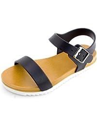 Girls Open Toe Gladiator 2 Strap Flat Sandals (Toddle/Little Kid)
