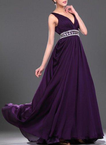 Damen V Abendkleider Linie Dearta Aermellos Etui Chiffon Pinsel Kleidungen Purpurn Schleppe Ausschnitt HxxdIqZw