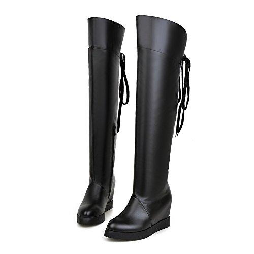 AgooLar Damen Blend-Materialien Rund Zehe Rein Überknie Hohe Stiefel Hoher Absatz Stiefel, Schwarz, 36