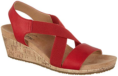 (LifeStride Womens Mexico Wedge Sandals 8 Red)