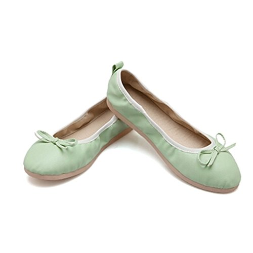 Spritech(TM) Women's Girls' Summer Round Toe PU Leather Bowknot Design Casual Plain Ballet Soft Slip On Flat Shoes Green 36