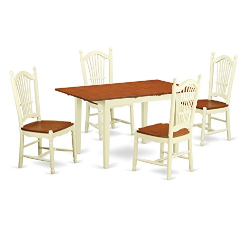 East West Furniture NODO5-WHI-W 5 Piece Dinette Table and 4 Chairs Set