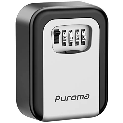 - Puroma Key Lock Box, 4-Digit Combination Wall Mount Storage Lockbox 5 Key Large Capacity for House Key, Special Car Key, ID Card