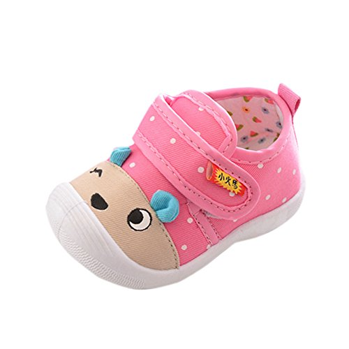 iYBWZH Baby Boys Girls Cartoon Shoes Slippers Cute Cartoon Animal Anti-Slip Warm Winter Crib Shoes Prewalker First Walker Shoes Toddler Squeaky Sneakers Outdoor Shoes(D-Pink,CN-16/0-6 Month)
