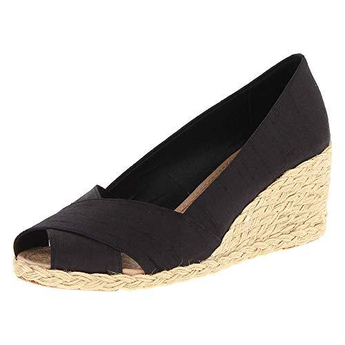 Nailyhome Womens Espadrille Wedge Sandals Slip On Peep Toe High Heels Summer Pumps