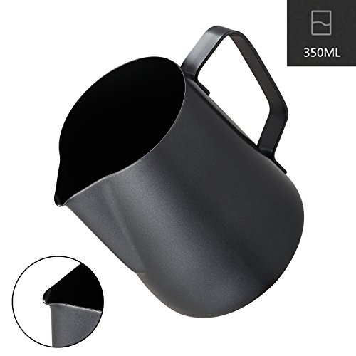 Milk Frothing Pitcher, Coffee4u Stainless Steel Creamer Non-Stick Teflon Frothing Pitcher 12 oz (350 ml), Matte Finish by Coffee4u