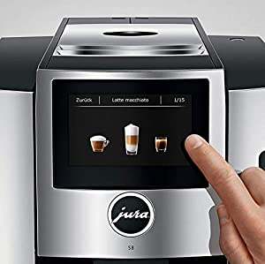 JURA S8 Automatic Coffee Machine with PEP, Chrome Includes Milk Container, 2 Smart Filter Cartridges, Cleaning Tablets, 2 Demi Spoons and 2 Espresso Cups Bundle from Jura