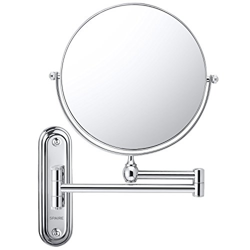 Spaire Wall Mounted Makeup Mirror Bathroom Mirror 7X/1X Magnification Double-sided 8 Inch Wall Mounted Vanity Magnifying Mirror Swivel, Extendable and Chrome Finished for Bath, Spa and - Silver Mirror Spa
