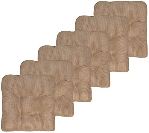 Sweet Home Collection Chair Cushion Crushed Memory Foam Pads Premium Slip Non Skid Microdot Rubber Back Tufted 16″ x 16″ x 3.25″ Thick Seat Cover, 6 Pack, Taupe