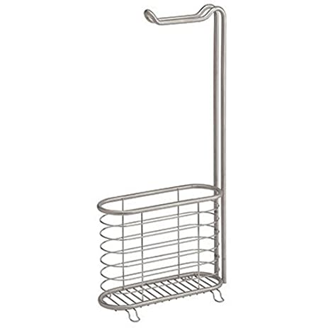 interdesign forma free standing toilet paper holder and newspaper and magazine rack for bathroom brushed