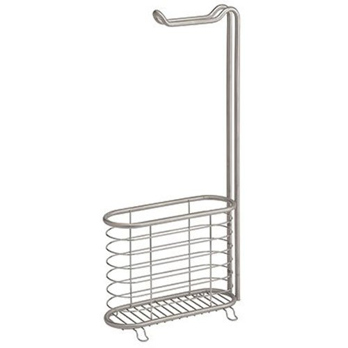 InterDesign Forma Free Standing Toilet Paper Holder and Newspaper and Magazine Rack for Bathroom - Brushed Stainless Steel