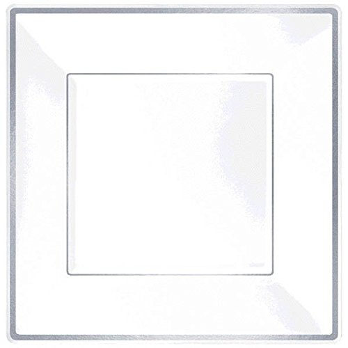 Amscan Elegant Square Plastic Plate Party Tableware, 8 Pieces, Made from Plastic, White w/Silver Trim, 7 1/4'' by by Amscan