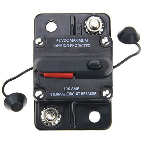 ZOOKOTO 100 Amp Car Automotive Marine Boat Audio Circuit Breaker with Manual Reset, 12V- 42VDC, Waterproof (100A) ()