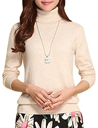 Tanming Women's Slim Fashion Turtleneck Long Sleeve Pullover Knit Sweaters (US 12, A White)