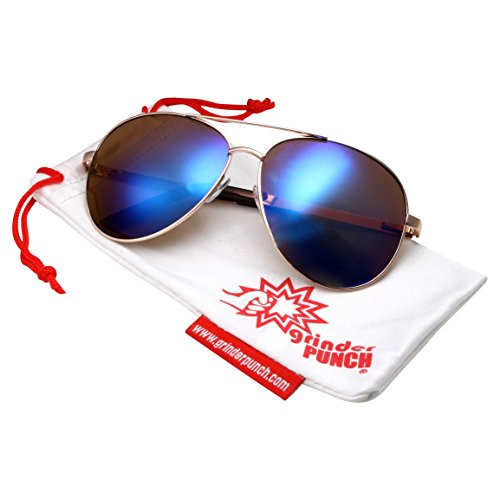 grinderPUNCH XL Wide Frame Aviator Sunglasses - Large 148mm Wide - Mirrored Lens - Blue And Green REVO - Aviators Big Heads For
