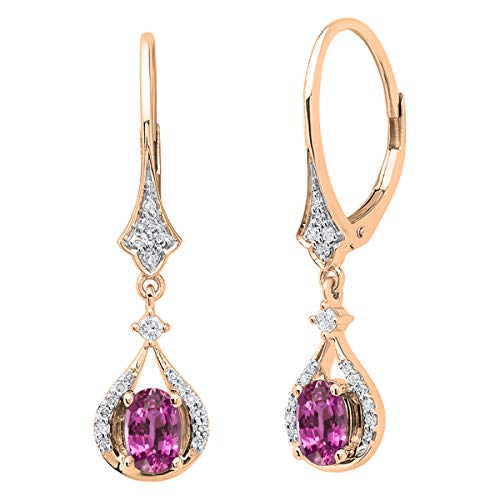 Dazzlingrock Collection 14K 6X4 MM Each Oval Pink Sapphire & White Diamond Ladies Dangling Drop Earrings, Rose Gold