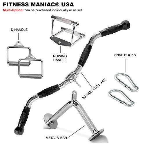 FITNESS MANIAC USA Home Gym Cable Attachment Handle Machine Exercise Chrome PressDown Strength Training Home Gym…
