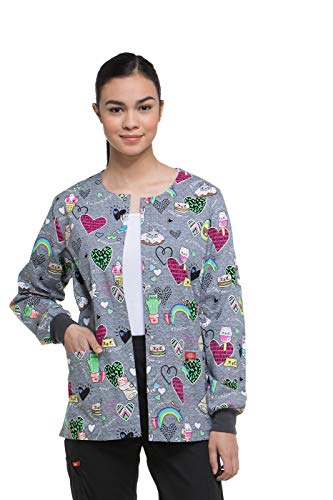 - Dickies EDS Signature Women's Snap Front Warm-Up Cat Print Scrub Jacket X-Small Print