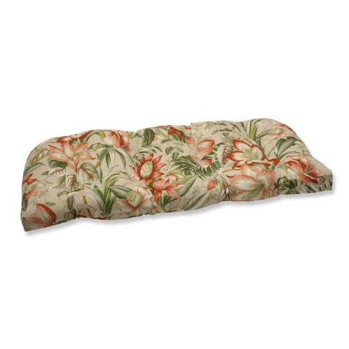 Pillow Perfect Outdoor Botanical Glow Tiger Stripe Wicker Loveseat Cushion -
