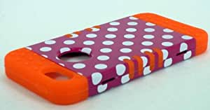 Cell-Attire Shockproof Hybrid Case For Apple IPhone 5, 5S and Stylus Pen, Orange Soft Rubber Skin with Hard Cover (Polka Dots, Hot Pink, White) AT&T, T-Mobile, Sprint, Verizon, Cricket, Virgin Mobile, Boost Mobile by Maris's Diary