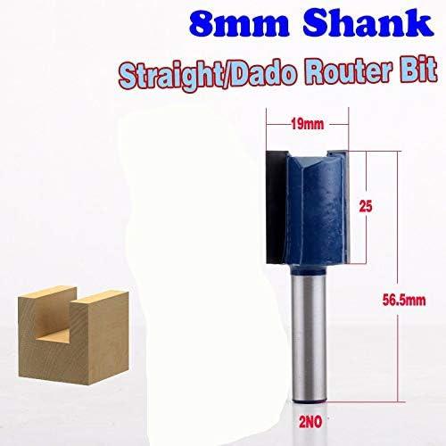 "NO LOGO ZZB-ZT, 1pc 8mm Schaft Qualitäts-Straight/Dado Router Bit - 3/4"" W X 20mm, 25mmH Gerade Schaftfräser Trimmer Cleaning Flush Trim (Size : 2NO)"