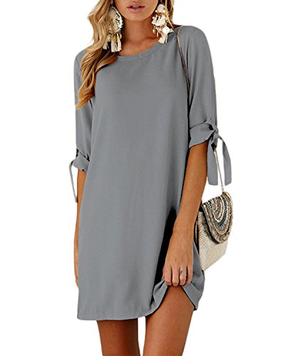 YOINS Women Mini Dresses Summer T Shirt Solid Crew Neck Tunics Self-tie Half Sleeves Blouse Dresses Gray S