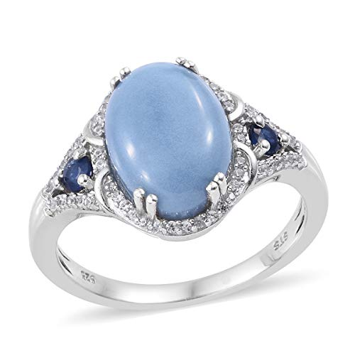 Blue Opal Blue Sapphire Halo Ring 925 Sterling Silver Platinum Plated Jewelry for Women Size 7