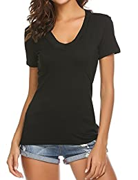 Meaneor Women's Sexy Low-Cut Deep V-Neck Short Sleeve Stretchy Tee Shirt Top