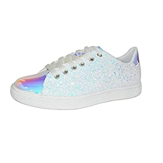 LUCKY STEP Glitter Sneakers Lace up | Fashion Sneakers | Sparkly Shoes for Women (9 B(M) US,White Hologram)