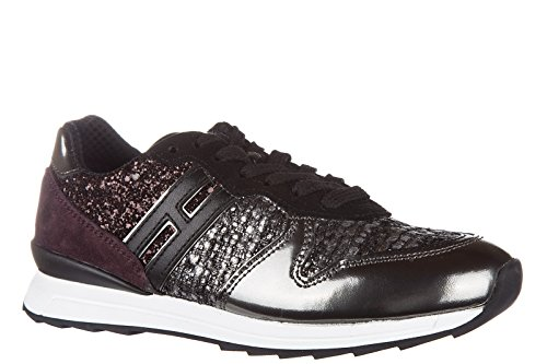 Hogan Rebel Sneakers Kinder Schuhe Mädchen Leder Turnschuhe r261 allacciato  Silb ...