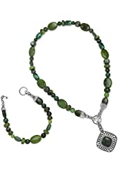 Carolyn Pollack Sterling Silver Green Multi Gemstone Necklace Bracelet Set