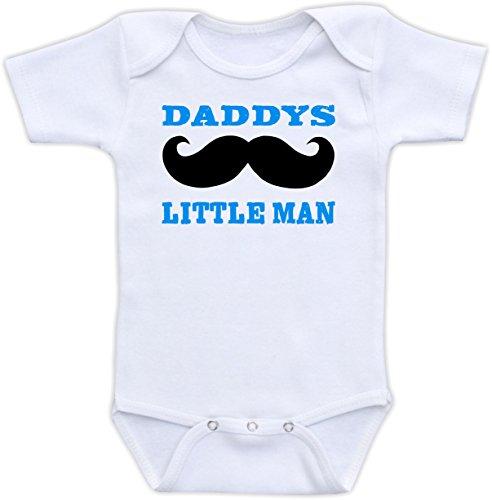 Daddy's Little Man - Cute Baby Boy Bodysuit (6M Short Sleeve, Blue Font)