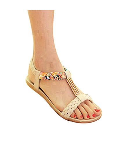 YOUJIA Womens Bohemia Rhinestones T-Strap Peep Toe Slingback Flip Flop Flat Shoes Sandals Beige 7NQQ5kyeKR