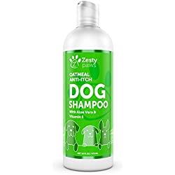 Dog Shampoo with Oatmeal & Aloe Vera - Natural Grooming Pet Wash for Itchy & Sensitive Skin + Dandruff & Coat Odors - Gentle Anti Itch Flea Formula - Vanilla Bean Scent - 16 OZ
